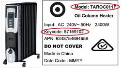 Target 11 Fin Oil Column Heater Recall