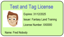 Test and tag license